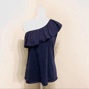 Lilly Pulitzer Navy Blue One Shoulder Top Sz Large